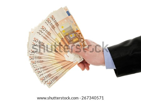 male hand holding euro banknotes isolated on white - stock photo