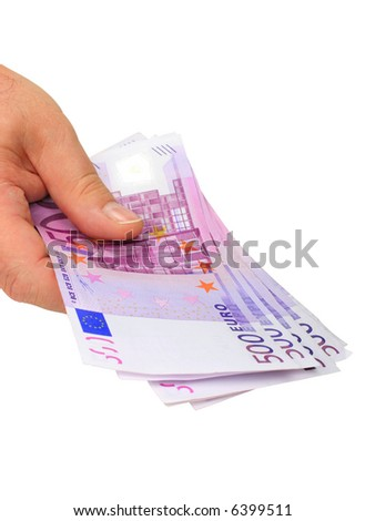 Male hand holding 500 euro notes isolated on pure white - stock photo
