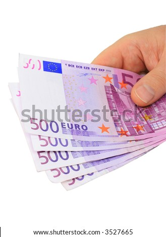 Male hand holding five 500 euro notes isolated on pure white - stock photo