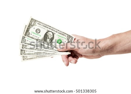 Male hand holding five one dollar bills