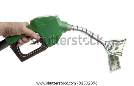 Male hand holding green gas pump with dollar bills isolated on white - stock photo