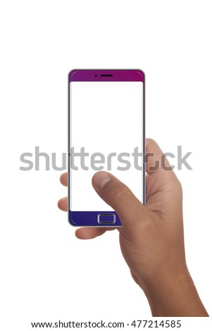 Male hand holding modern smartphone. Editable. Ready for your design. Various colours.Blank space 16:9 aspect ratio
