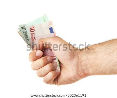 Male hand holding money isolated on white