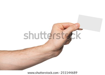 Male hand holding paper card, isolated on white background - stock photo