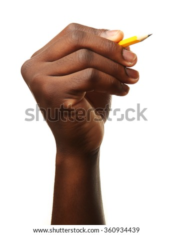 Male hand holding pencil, isolated on white background