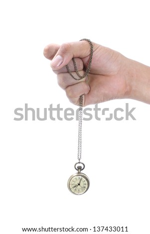 Male hand holding pocket watch isolated on white background - stock photo