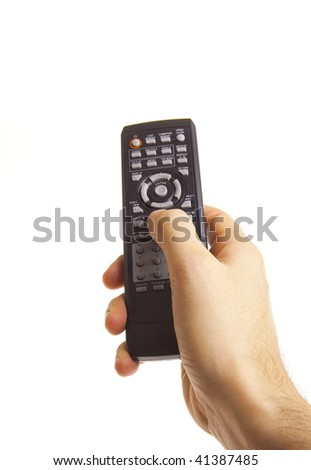 Male hand holding remote control isolated on white - stock photo