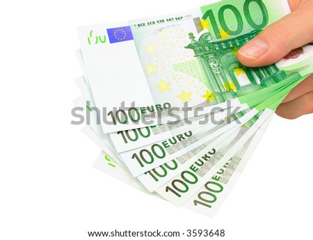 Male hand holding six 100 euro notes isolated on pure white - stock photo