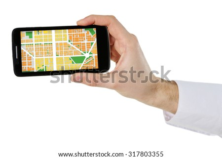 Male hand holding smart phone with map gps navigation application isolated on white - stock photo