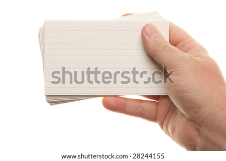 Male Hand Holding Stack of Flash Cards Isolated on a White Background. - stock photo