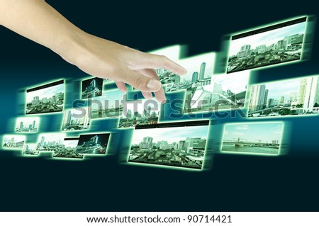 Male Hand holding streaming images - stock photo
