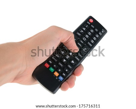 Male hand holding tv remote control isolated on white
