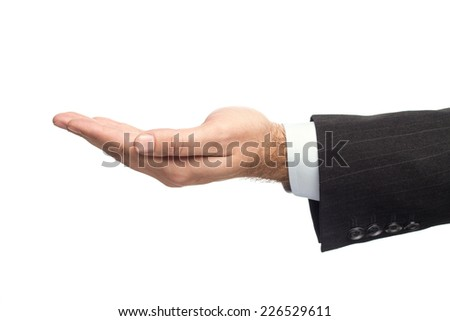 Male Hand In A Business Suit Showing The Asking For Help Gesture Sign