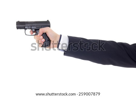 male hand in business suit with gun isolated on white background