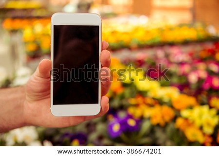 Male hand is holding a smart phone, flowers in orangery in the background - stock photo