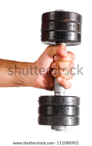 male hand is holding metal barbell isolated on white - stock photo