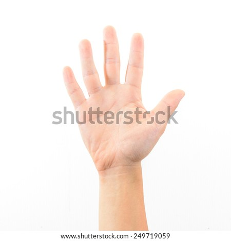 Male hand is showing five fingers isolated on white background