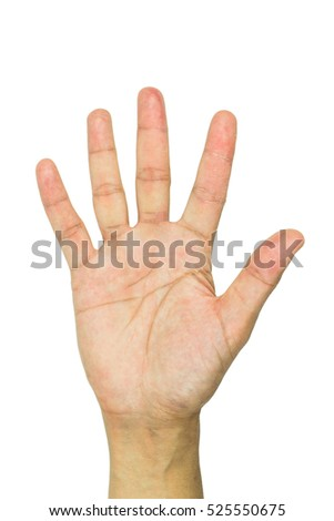 Male hand is showing five fingers isolated on white background including clipping path.