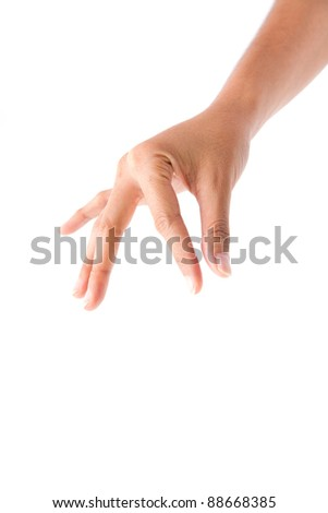 Male hand isolate on white background