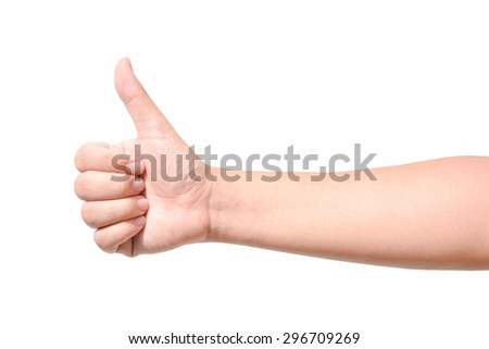 Male hand isolated showing thumb up sign isolated on white background - stock photo