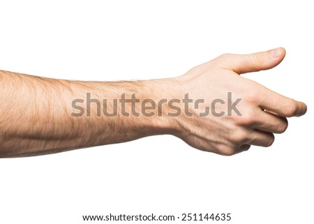 Male hand offering for handshake, over white background - stock photo