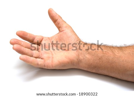 male hand on a white background. Isolation