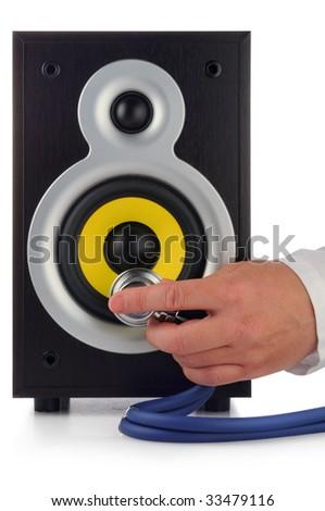male hand, phonendoscope  and loud speaker on white - stock photo