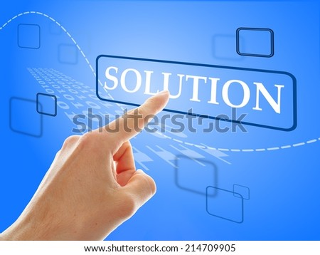 male hand pressing a button with word solution on it - stock photo