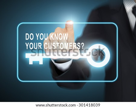 male hand pressing do you know your customers key button over blue abstract background - stock photo