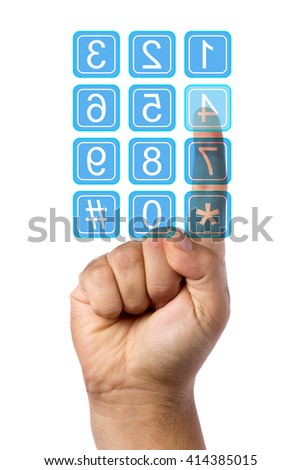 Male hand pressing key of clear touch screen keypad isolated