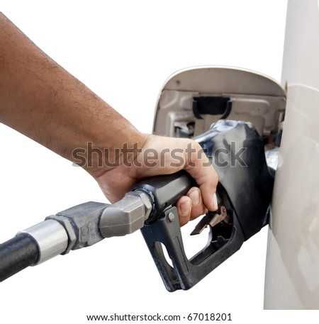 male hand pumping gas isolated on a white background - stock photo