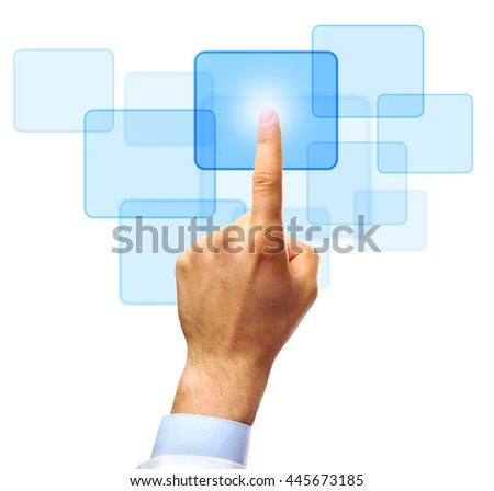 Male hand pushing a button on virtual screen - stock photo