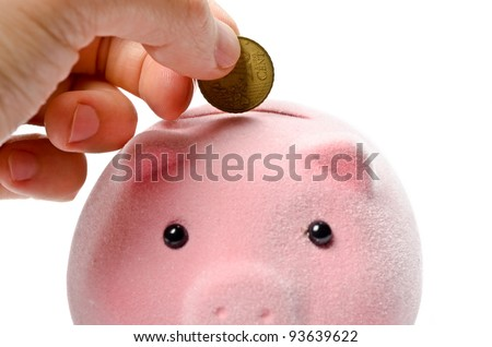 Male hand putting coin into a piggy bank - stock photo