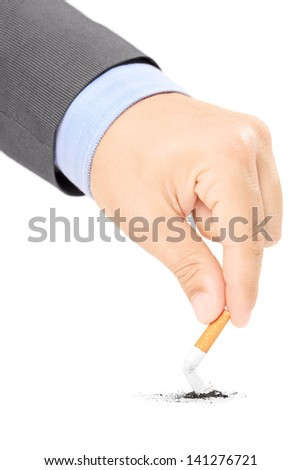 Male hand quitting smoking cigarette, isolated on white background - stock photo