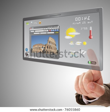 male hand searching a information on touchscreen tablet - stock photo