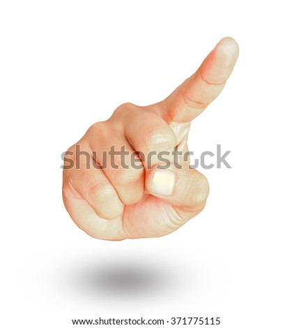 Male hand show gesture pointing something on white background. - stock photo