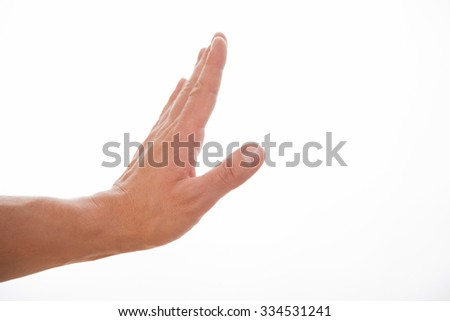 Male hand showing a rejection gesture - stock photo