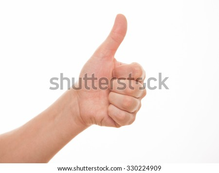 Male hand showing a thumb up sign, white background