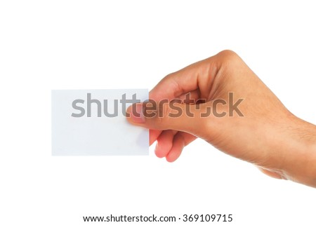 Male hand showing blank paper on white background.