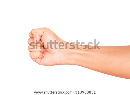 Male hand showing clutched in his fist isolated on white background - stock photo