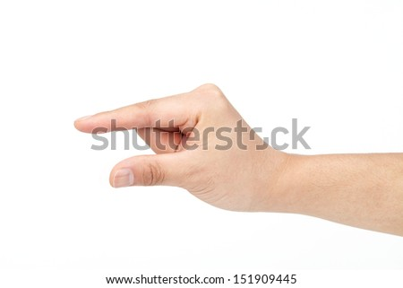 male hand showing empty space for your idea  male hand showing empty space
