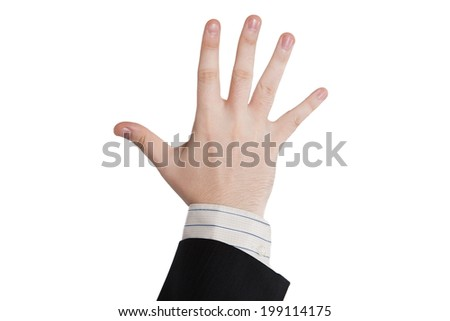 male hand showing five fingers on a white