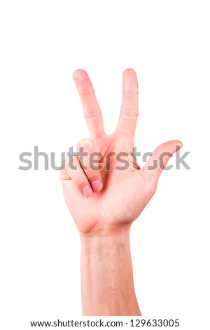 Male hand showing number two, victory sign isolated on white - stock photo