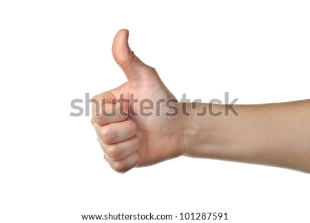 Male hand showing thumbs up isolated on white - stock photo