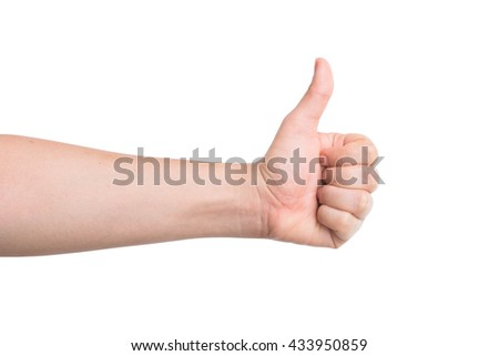 male hand showing thumbs up isolated on white