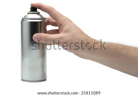 Male hand spraying on white background - stock photo
