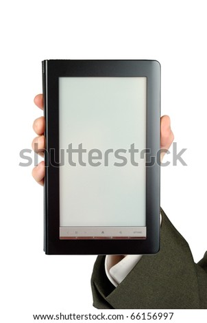 Male hand suit dressed holding electronic book isolated with clipping path over white - stock photo