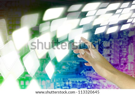 Male Hand touch virtual digital data in digital environment - stock photo