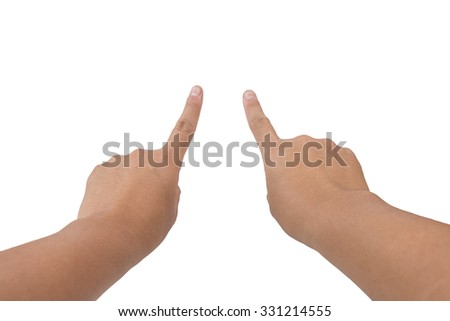 Male hand touching or pointing to something on white background