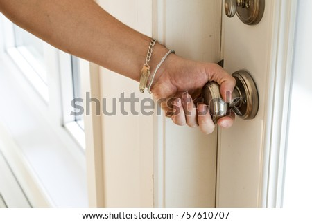 Male Hand Turning Brass Doorknob Opening Stock Photo (Royalty Free ...